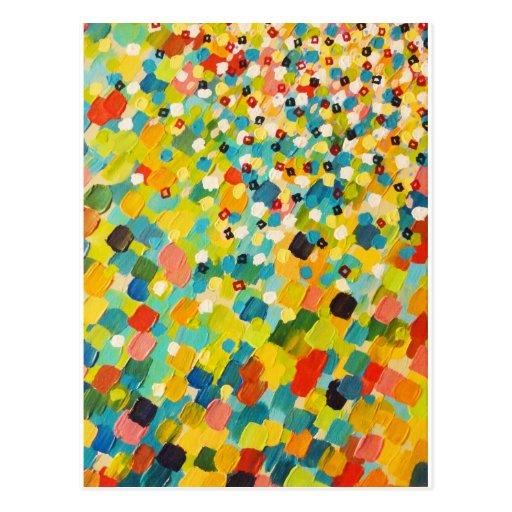 SWEPT AWAY 3 - Fresh Green Colorful Rainbow Ocean Post Cards