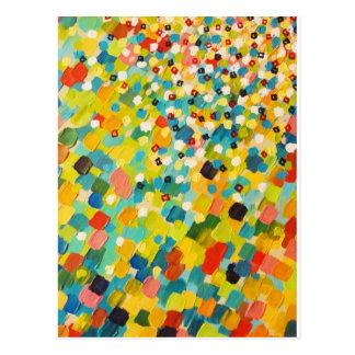 SWEPT AWAY 3 - Fresh Green Colourful Rainbow Ocean Postcard