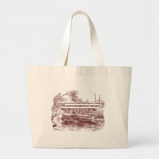 Swift River Covered Bridge Sketch Tote Bag