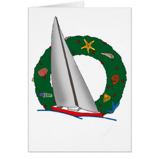 SWIFT SAILBOAT WREATH CARD