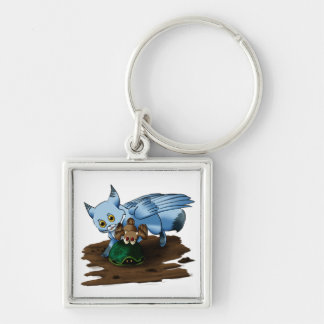 Swiftpaw and Drift : Turtle Silver-Colored Square Key Ring