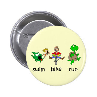 Swim Bike Run 6 Cm Round Badge