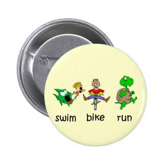 Swim Bike Run 6 Cm Round Badge
