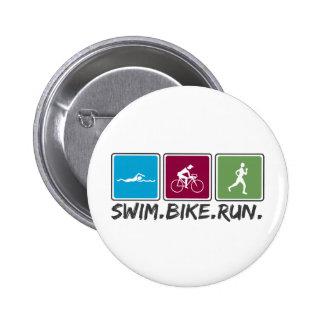 swim bike run (triathlon) 6 cm round badge