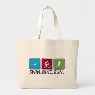 swim bike run (triathlon) tote bags