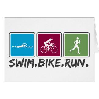 swim bike run (triathlon) greeting cards