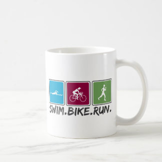 swim bike run (triathlon) coffee mug