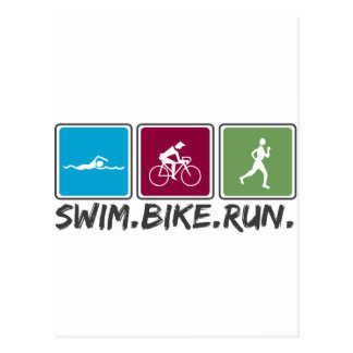 swim bike run (triathlon) postcard