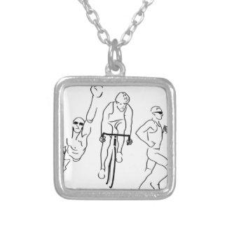 Swim Bike Run Triathlon Square Pendant Necklace