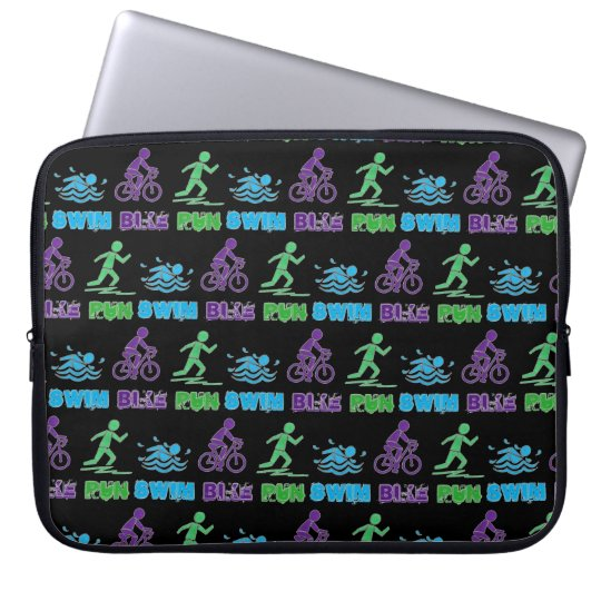 Swim Bike Run Triathlon Triathlete Ironman Race Computer Sleeve