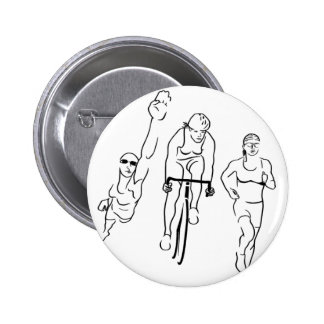 Swim Bike Run Triathlon Woman 6 Cm Round Badge