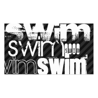 Swim; Black & Dark Gray Stripes Pack Of Standard Business Cards
