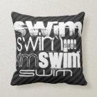 Swim; Black & Dark Grey Stripes Cushion