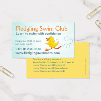 Swim club swim teachers business card