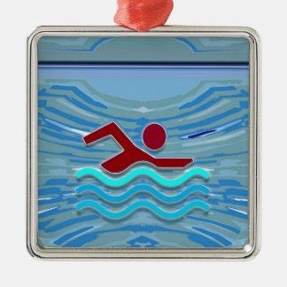 Swim Club Swimmer Exercise Fitness NVN254 Swimming Metal Ornament