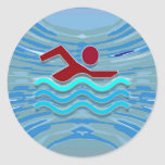 Swim Club Swimmer Exercise Fitness NVN254 Swimming Round Sticker