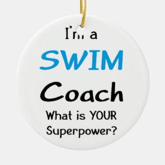 Swim coach round ceramic decoration