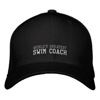 Swim Coach, World's Greatest Hat Embroidered Baseball Cap