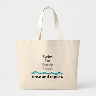 Swim, eat, study, sleep ... rinse and repeat jumbo tote bag