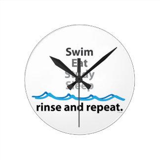 Swim Eat Study Sleep Round Clock
