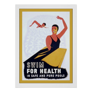 Swim For Health ~ Vintage Health & Fitness Poster