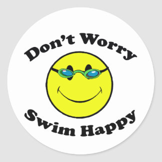 Swim Happy Round Sticker