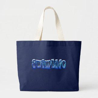 Swim life jumbo royal blue tote canvas bag