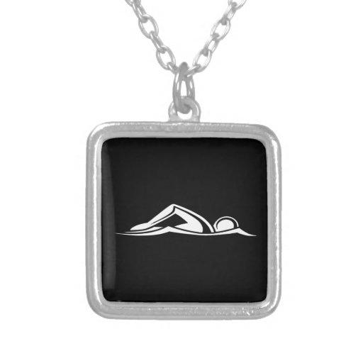 Swim Logo Necklace Black