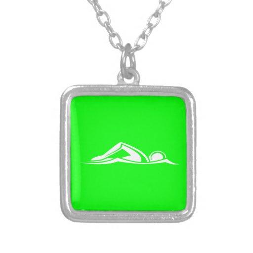 Swim Logo Necklace Green