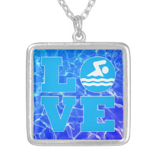 Swim LOVE Pool Water Necklace for Swimmer or Coach
