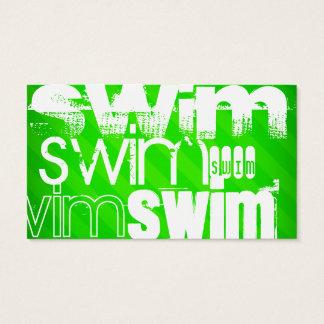 Swim; Neon Green Stripes Business Card