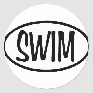 swim oval classic round sticker