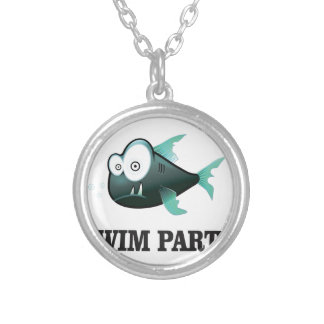 swim party crazy silver plated necklace