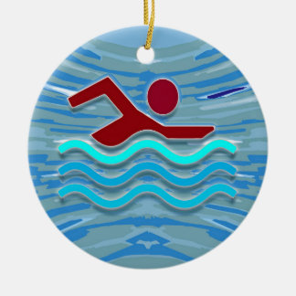 SWIM Swimmer Love Heart Pink Red Pool  FUN Ceramic Ornament