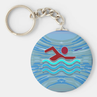 SWIM Swimmer Love Heart Pink Red Pool NVN695 FUN Basic Round Button Key Ring