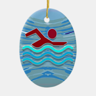 SWIM Swimmer Love Heart Pink Red Pool NVN695 FUN Ceramic Oval Decoration
