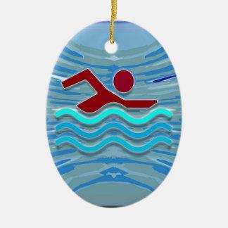 SWIM Swimmer Love Heart Pink Red Pool NVN695 FUN Ceramic Oval Decoration