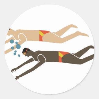 Swim Team Round Sticker