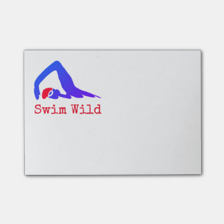 Swim Wild with text you can personalise Post-it Notes