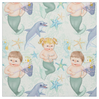 Swim With Dolphins Mermaids Fabric