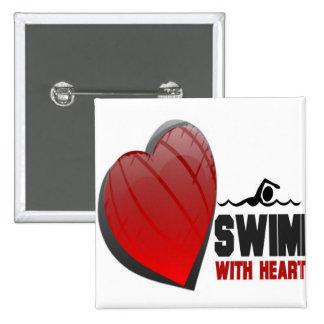 SWIM WITH HEART 15 CM SQUARE BADGE