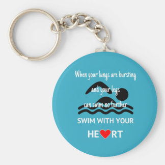 Swim with heart motivational sports blue key ring