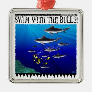 Swim with the bulls Ornament