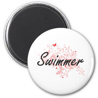 Swimmer Artistic Job Design with Butterflies 6 Cm Round Magnet