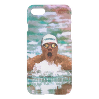 Swimmer Athlete In Pool With Water Drops Painting iPhone 7 Case