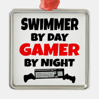 Swimmer by Day Gamer by Night Metal Ornament