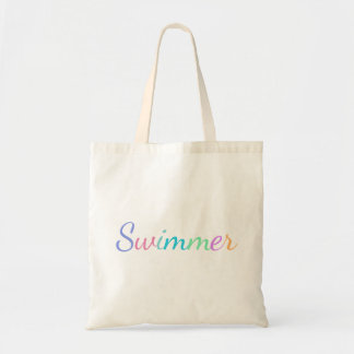 """""""Swimmer"""" in Colorful Lettering on Tote Bag"""