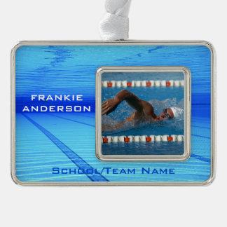 Swimmer Keepsake Silver Plated Framed Ornament