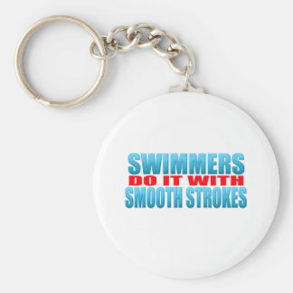 Swimmers do it with smooth strokes basic round button key ring