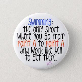 Swimming 6 Cm Round Badge